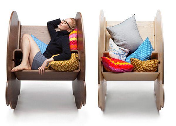Деревянные кресла-качалки для полного расслабления. (5 фото)