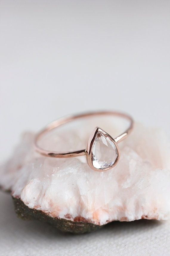 White topaz gold ring, rose gold, pear cut, delicate, solid 14k gold thin stacking ring