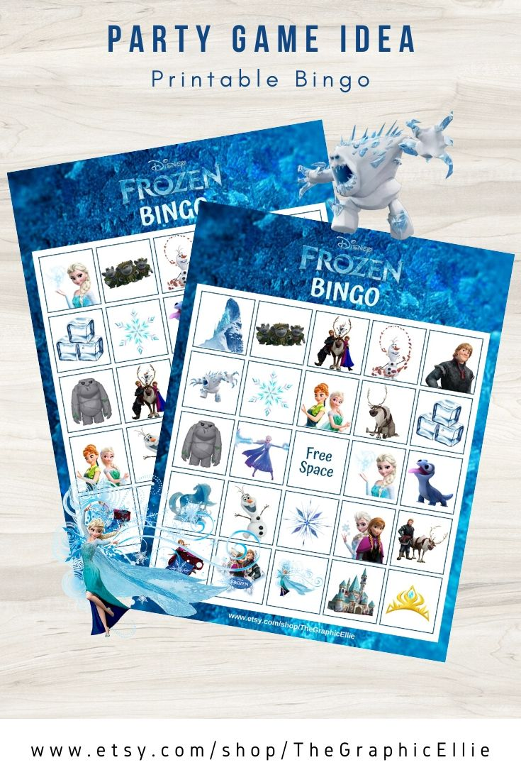 Frozen Bingo Printable Bingo Printable Bingo Cards Printable Frozen Theme Party