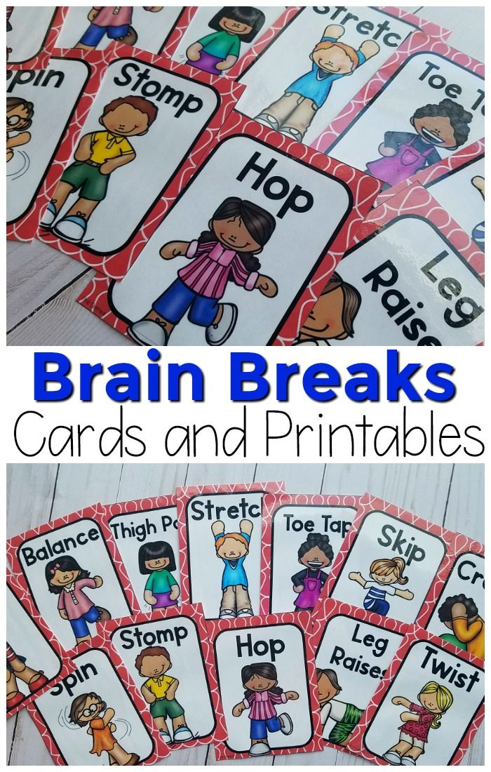 Brain Breaks - Movement Cards and Printables | Pink Oatmeal