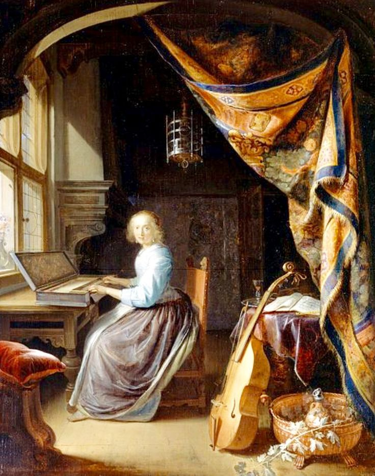 """A Woman Playing a Clavichord"" -- 1665 -- Gerrit Dou -- Dutch -- Oil on panel -- Dulwich Picture Gallery."