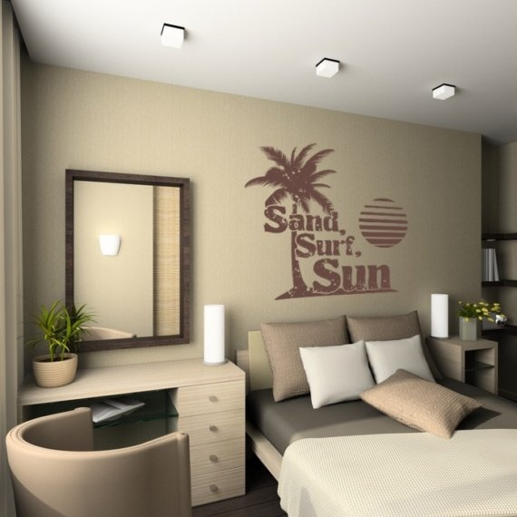 Wall Decal Words Sand Surf Sun Palm Tree