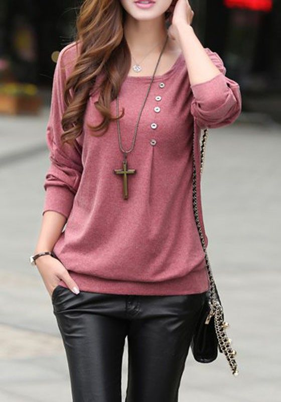 Bean Paste Red Plain Buttons Collarless Dolman Sleeve Long Sleeve Casual Cotton Blend T-Shirt