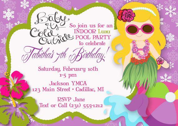 hula girl mermaid pool party invitation luau by fabpartyprints - Birthday Pool Party Invitations
