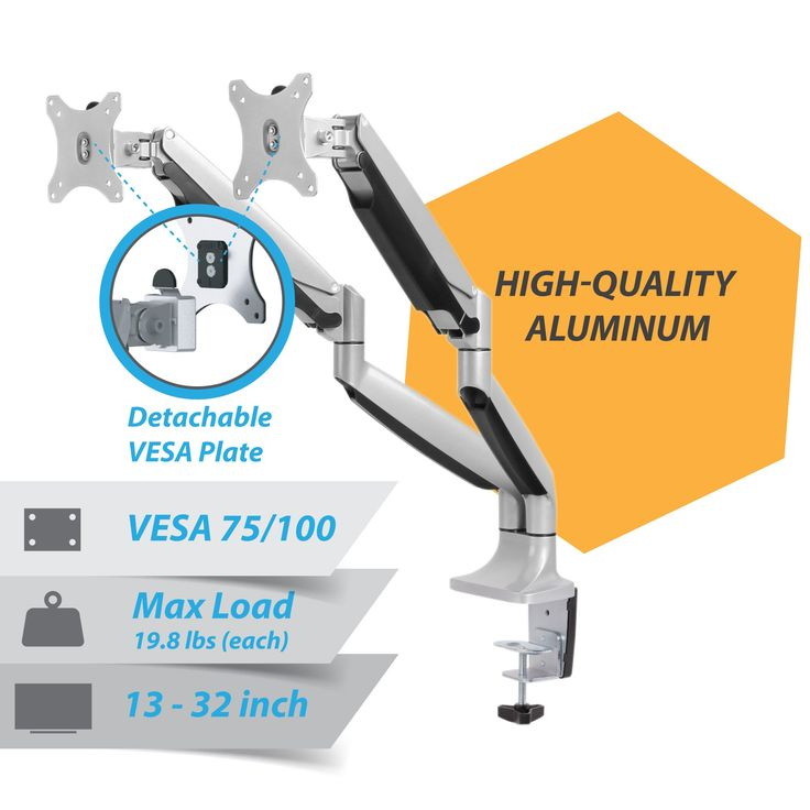 """AVLT-Power Monitor Arm Premium Aluminum Dual Monitor Desk Mount Arm Stand - Gas Spring - Heavy Duty Holds 13"""" to 32"""" Screens, Up to 19.8 lbs Each, VESA 75x75 or 100x100"""