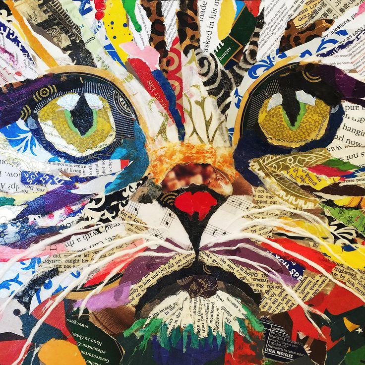 Cat close up torn paper collage by Karla Schuster