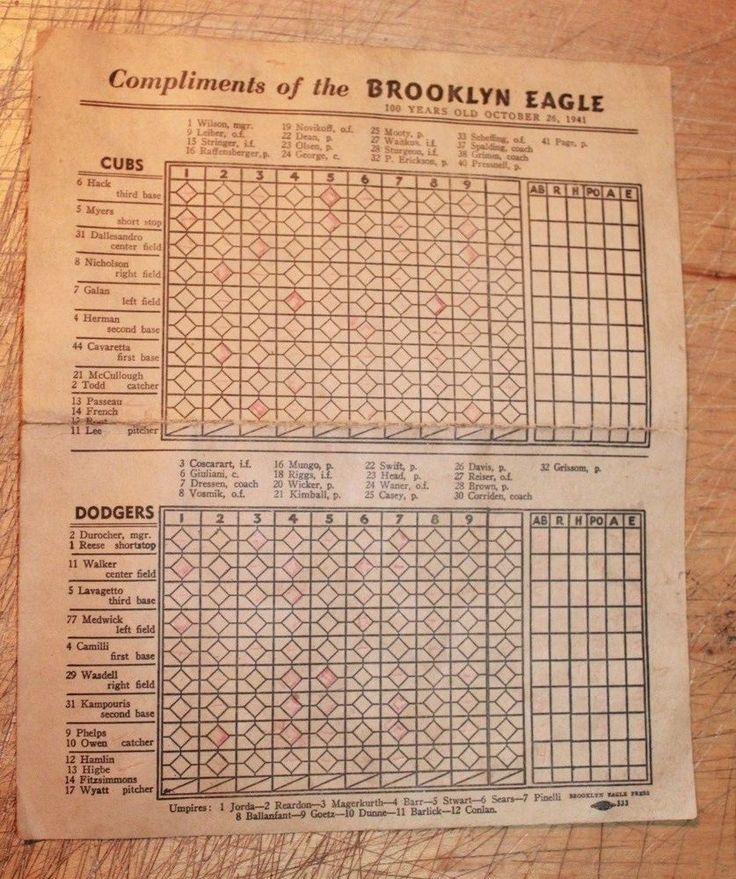 Best Baseball Scorecards Images On   Baseball