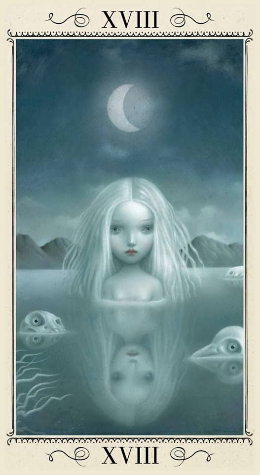 The Moon suggests the isolation we often feel when we strike out on a personal journey after having left an old way of life behind. It can be frightening and unnerving as we may no longer have anyone to support us. We may have had to leave everyone behind on our quest. {The Moon - Nicoletta Ceccoli Tarot.}