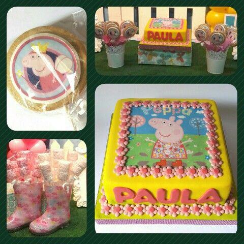 Combo Peppa Pig • Cake standard, Galletas Impresas, Malvipops #pritycakes #cakes #fondant #cookies #malvas #marshmallows #peppaPig