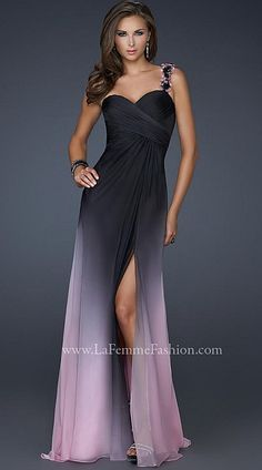 La Femme Black Pink Chiffon Prom Dress with Floral Strap 17239 at frenchnovelty.com