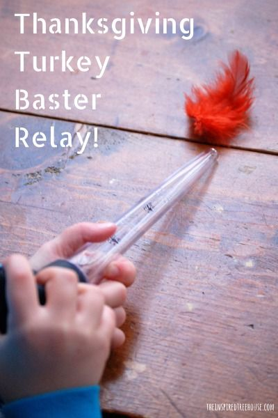 A Thanksgiving themed relay activity for kids! Grab some feathers and a turkey baster and come play along! Great for fine and gross motor skills!