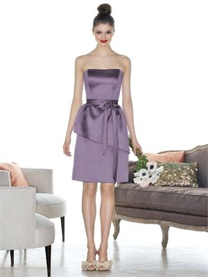 A-line Strapless Straight Neckline Knee Length Satin Bridesmaid Dress BD10262 www.dresseshouse.co.uk £76.0000