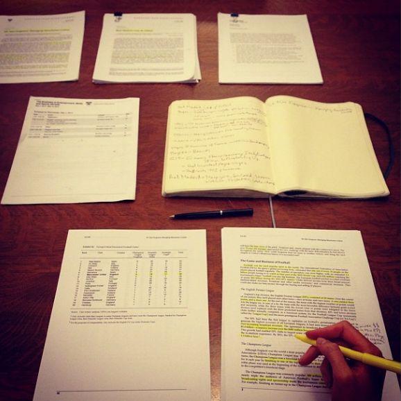 Karlie Kloss doing homework at Harvard