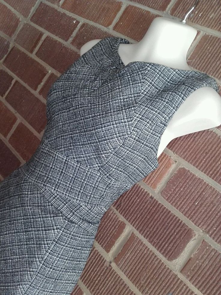 Cue size 12 shift corporate career tweed style wool blend winter dress office