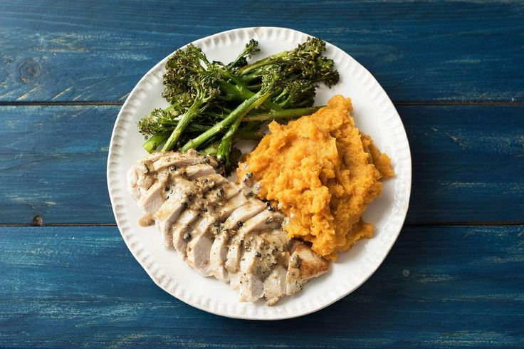 Pan-Seared Chicken with Peppercorn Sauce, Mashed Sweet Potato, and Roasted Broccolini Recipe | HelloFresh