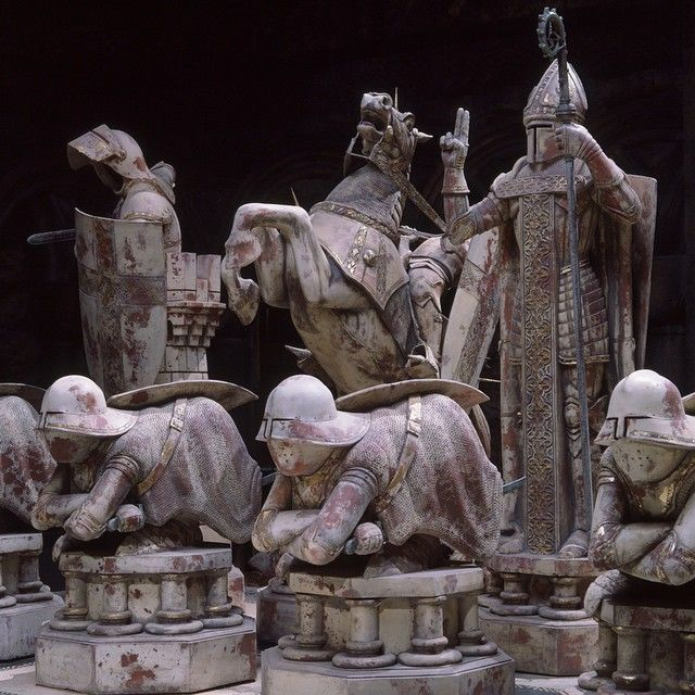 Full-sized clay models - some twelve feet high - of all 32 chess pieces were sculpted, molds were made and the figures cast. The pieces were radio-controlled to move across the board, battle, and even explode. The only digital effects in the scene are dust and debris that were added to enhance the visual impact of the explosions. #HarryPotter