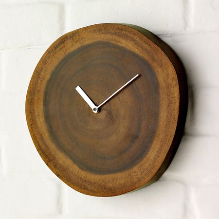 Wood Plinth Clock A Slice Of Natural Acacia With A Clear Lacquer Finish.