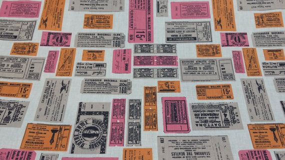 100% Cotton Show Time Movies Cinema Tickets print designer upholstery, crafts quilting dress vintage fashion fabric supplies