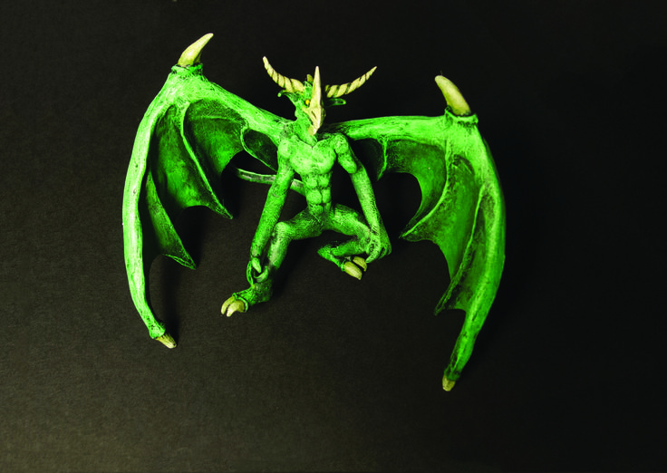 Polymer-clay dragon for my book on how to make miniature buildings and other stuff