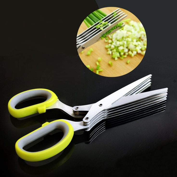Multi-functional Stainless Steel Kitchen 5 Layers Scissors Sushi Shredded Scallion Cut Herb Cooking Spices Kitchen Scissors