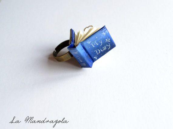 Tiny #Book Blue Ring  My Diary. Adjustable ring di Mandragola, #etsy  €9.00