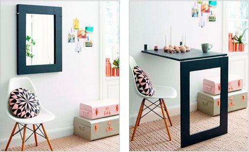 Espejo y mesa abatible bien sujetos a la pared