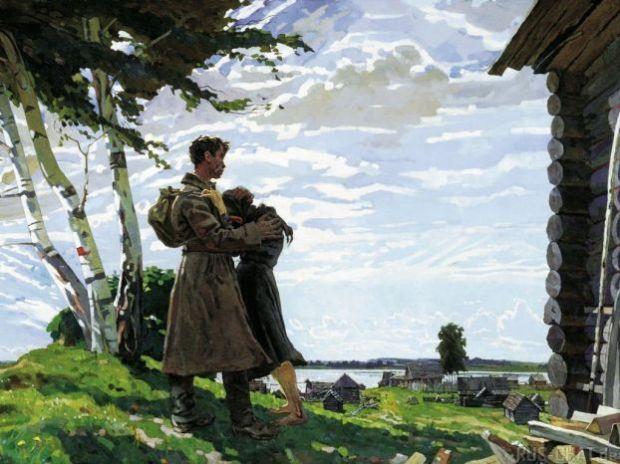 Иллюстрация. Возвращение солдата с войны. Вторая мировая война в картинках и рисунках.