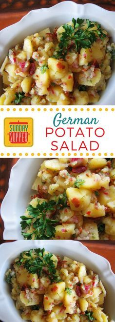 Authentic German Potato Salad is served warm and makes it a good side dish for a #WeekdaySupper. It doesn't need to chill like most potato salads, so you can dig in as soon as it's off the heat!