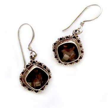 Beautiful Smokey Topaz Silver Earrings