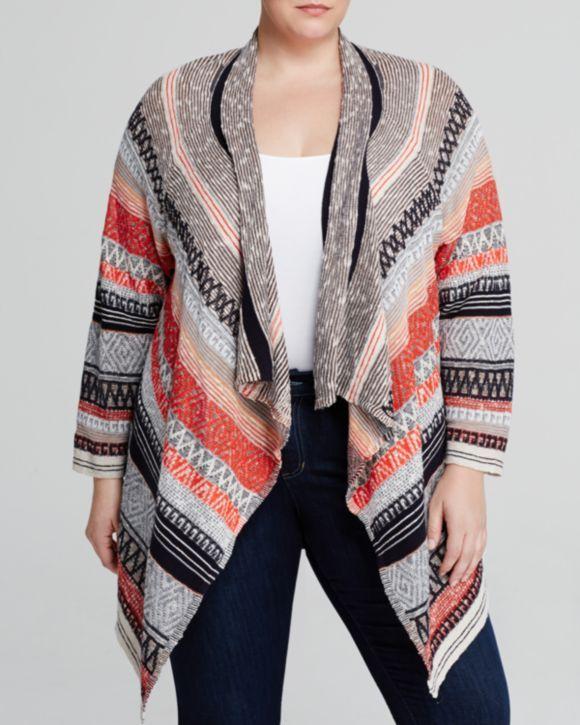 NIC + ZOE Plus Drape Front Stripe Cardigan | Bloomingdales's