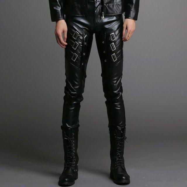 Motorcycle Skinny Biker Black Pants Men Gothic Punk PU Leather Slim Fit Trousers