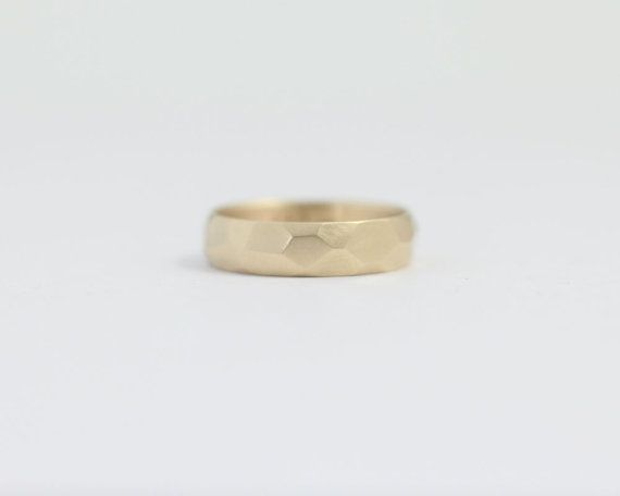 Geometric Mens Gold Wedding Band 18K Asymmetrical Ash Hilton Ceremony Weddings