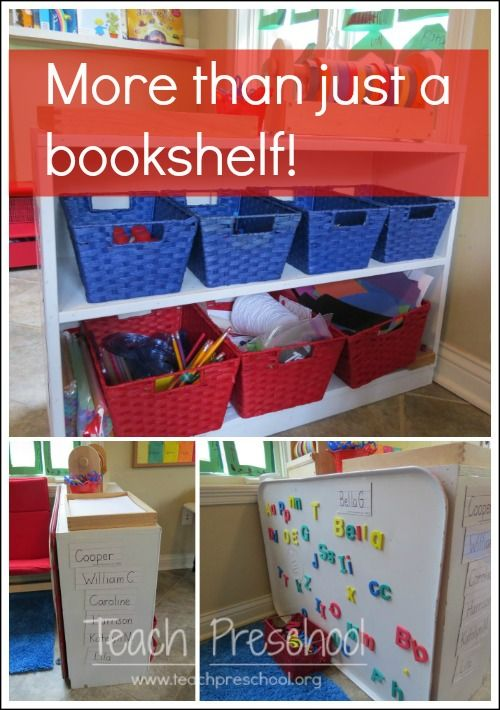 More than just a bookshelf by Teach Preschool good ideas for using the backs of classroom furniture; like the magnet board/drip pan on the back of one piece.  Really want a magnet area in my classroom.
