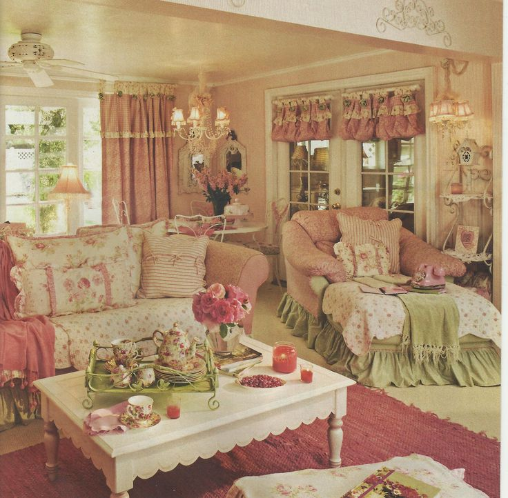 Country Pink Living Room Home Pretty Decorate Cozy Decorating