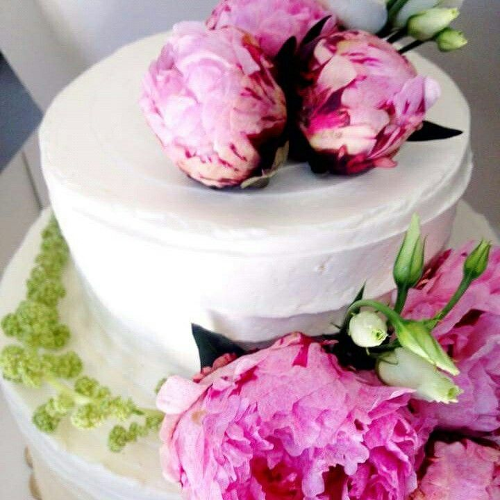 Wedding cake with froasting cream and peonies flowers www.santoweddingsbymk.com