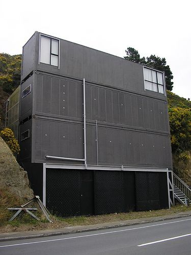 A modern house made out of shipping containers in Wellington.