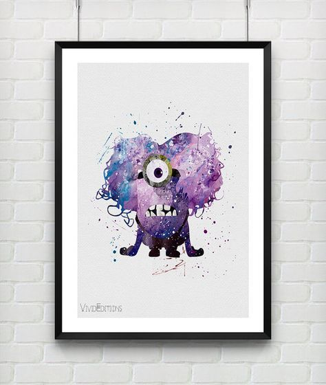 Purple Minion Print Watercolor Art Nursery Kids