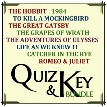 The mega bundle includes quizzes and answer keys for common high school texts including To Kill a Mockingbird by Harper Lee, The Great Gatsby by F. Scott Fitzgerald, The Hobbit by J.R.R. Tolkien, 1984 by George Orwell, Romeo & Juliet by William Shakespeare, Catcher in the Rye by J.D.