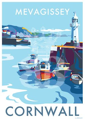 Mevagissey is available to buy at www.beckybettesworth.co.uk #vintage #travelposters #seasideprints #vintagetravelposters #devonartist #mevagissey #madebyme