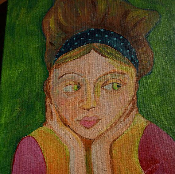 vrouw portret acryl op canvas groen en roze met mooi haar