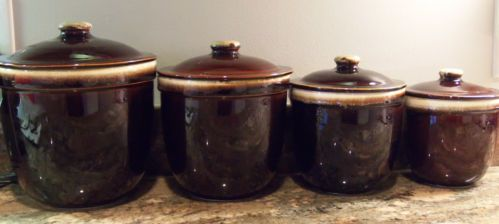 4 VINTAGE BROWN DRIP POTTERY CANISTERS + LIDS SET PFALTZGRAFF?