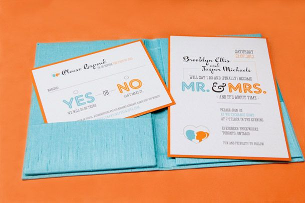 "modern teal and orange wedding- love the ""finally"" and ""it is about time"" considering how long your engagement is"