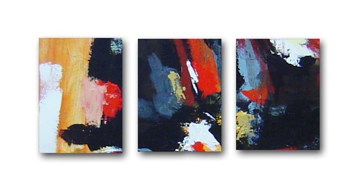 0022 cuadros abstractos trio cuadros modernos realizados for Cuadros grandes dimensiones