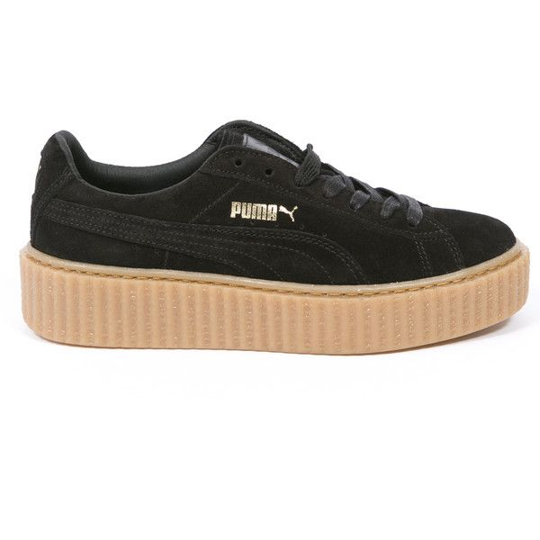 Puma Puma X Rihanna Fenty Suede Creepers ($140) ❤ liked on Polyvore featuring shoes, black, black creeper shoes, kohl shoes, suede leather shoes, puma shoes and puma footwear
