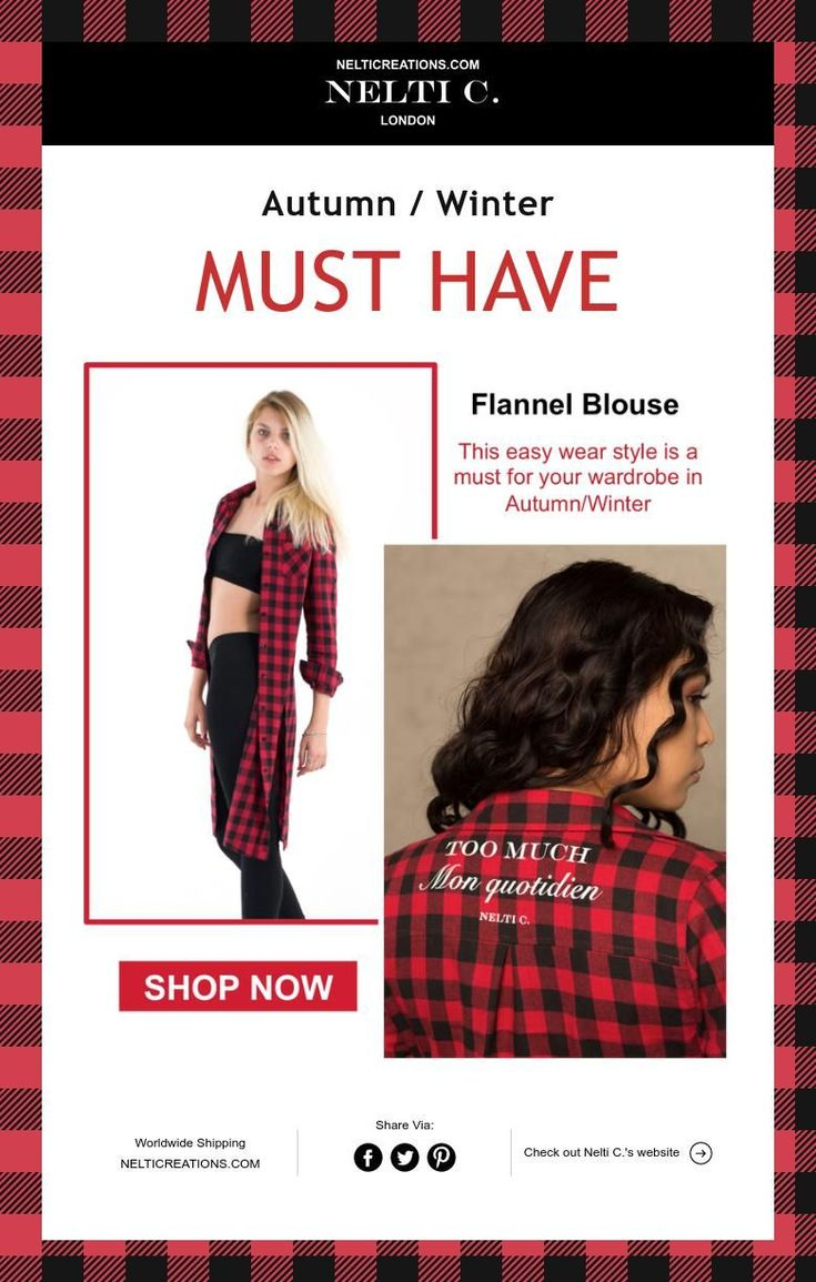 Autumn / Winter  MUST HAVE red flannel long shirt girl with style Nelticreations.com