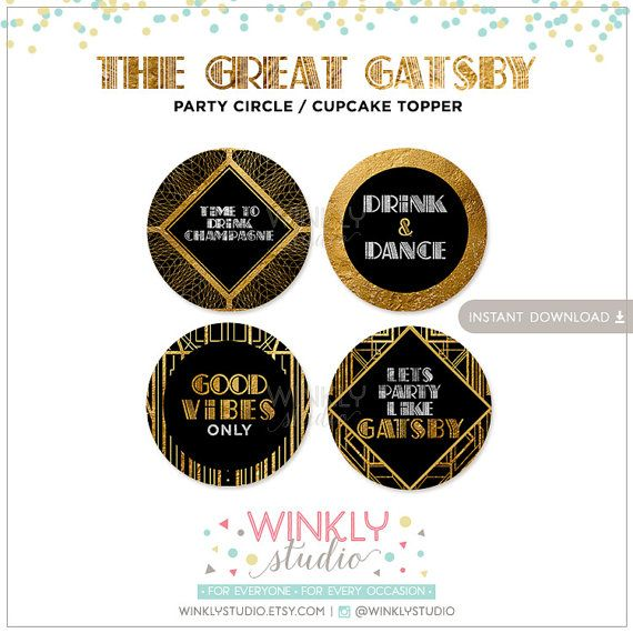 The Great Gatsby Party Circle Cupcake Topper By
