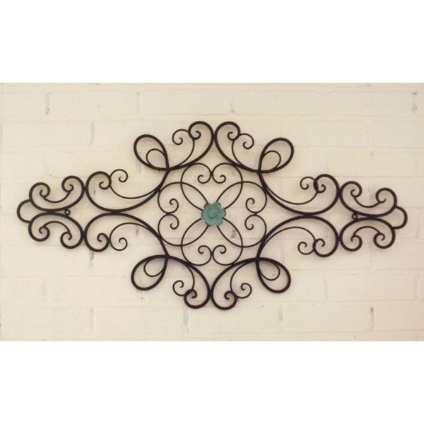 Fourth of July Scrolled Wrought Iron Shabby Chic Wrought Iron Wall... ($48) ❤ liked on Polyvore featuring home, home decor, wall art, black, home & living, scroll wall art, flower wall art, shabby chic home accessories, ocean home decor and wrought iron home decor