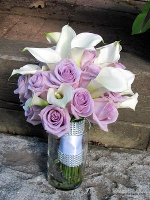 Lavender and white rose and calla lily bouquet.