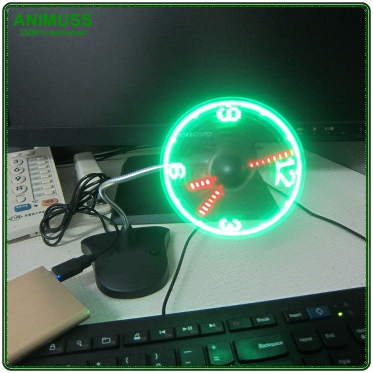 New Year wholesale gift Electric Clock Fan USB Gadget Mini Flexible Time display LED Clock Fan for office desk and table
