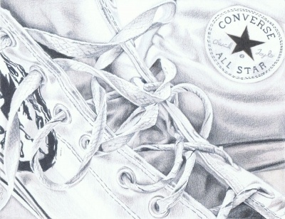 """My son took a real liking to Converse running shoes a few years back and has kept them all. I thought I would immortalize his youth with a drawing representing his youth. The original measures 9""""x7"""". This is an 5"""" x 7"""" print of an original graphite drawing I did a few years back. Printed using Epson Utrachrome, fade resistent ink on Inkpress Rag paper 'Converse with Me' will come to you in a card-backed protective sleeve."""